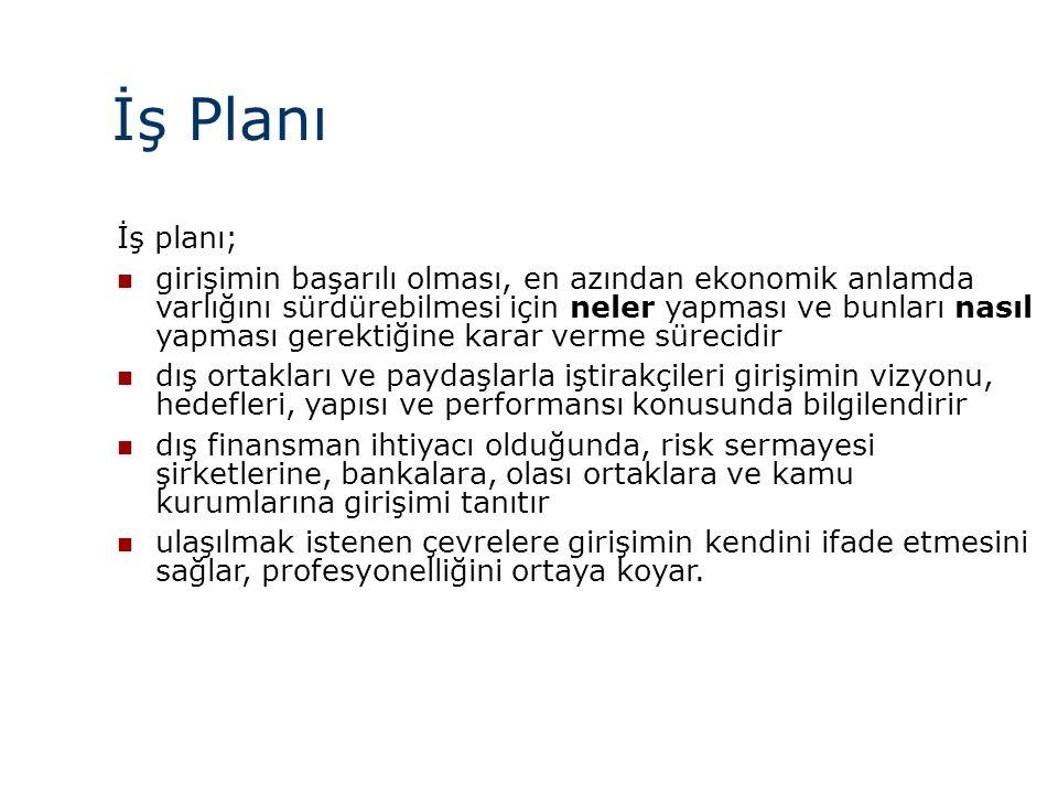 İş Planı İş planı;