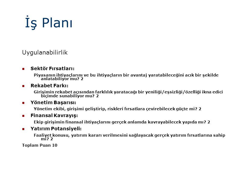 İş Planı Uygulanabilirlik Sektör Fırsatları: Rekabet Farkı: