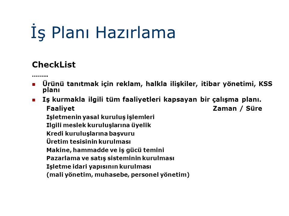 İş Planı Hazırlama CheckList