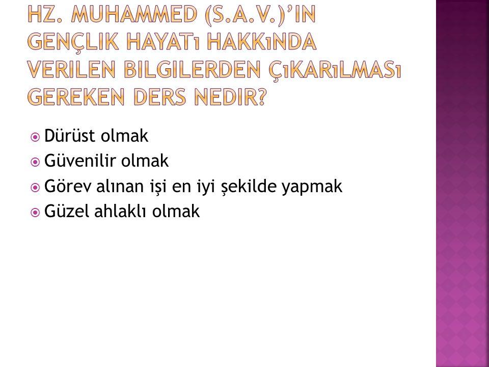 Hz. Muhammed (s.a.v.)'in gençlik hayatı hakkında verilen bilgilerden çıkarılması gereken ders nedir