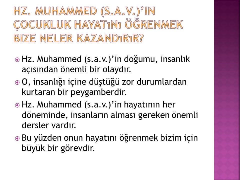Hz. Muhammed (s.a.v.)'in çocukluk hayatını öğrenmek bize neler kazandırır