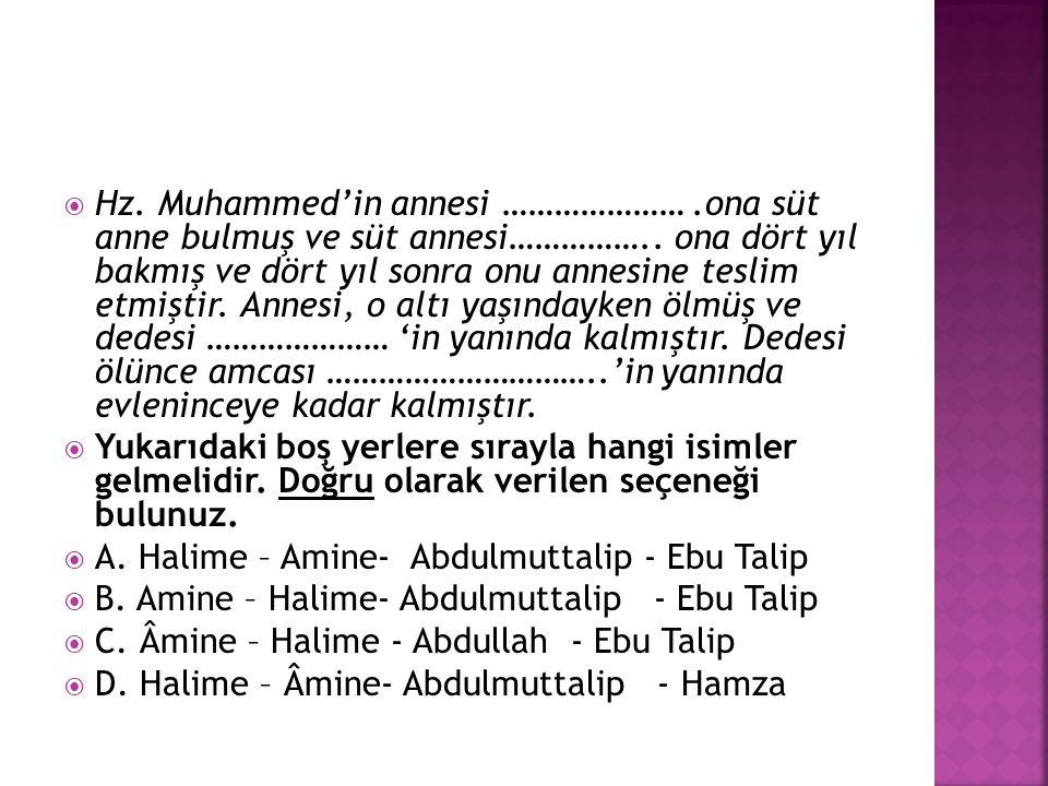 Hz. Muhammed'in annesi …………………. ona süt anne bulmuş ve süt annesi……………