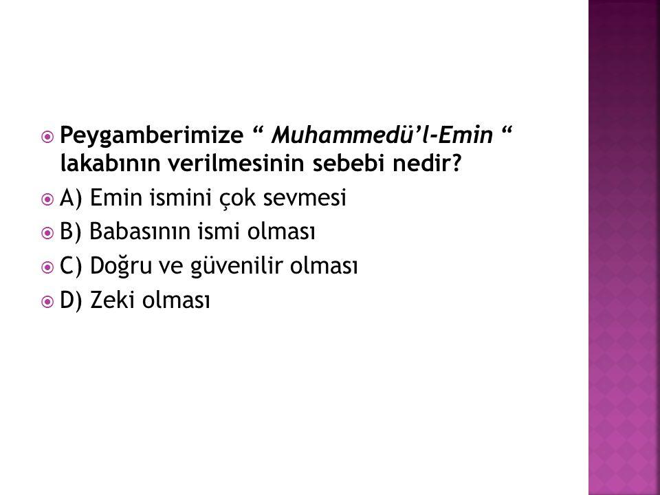 Peygamberimize Muhammedü'l-Emin lakabının verilmesinin sebebi nedir