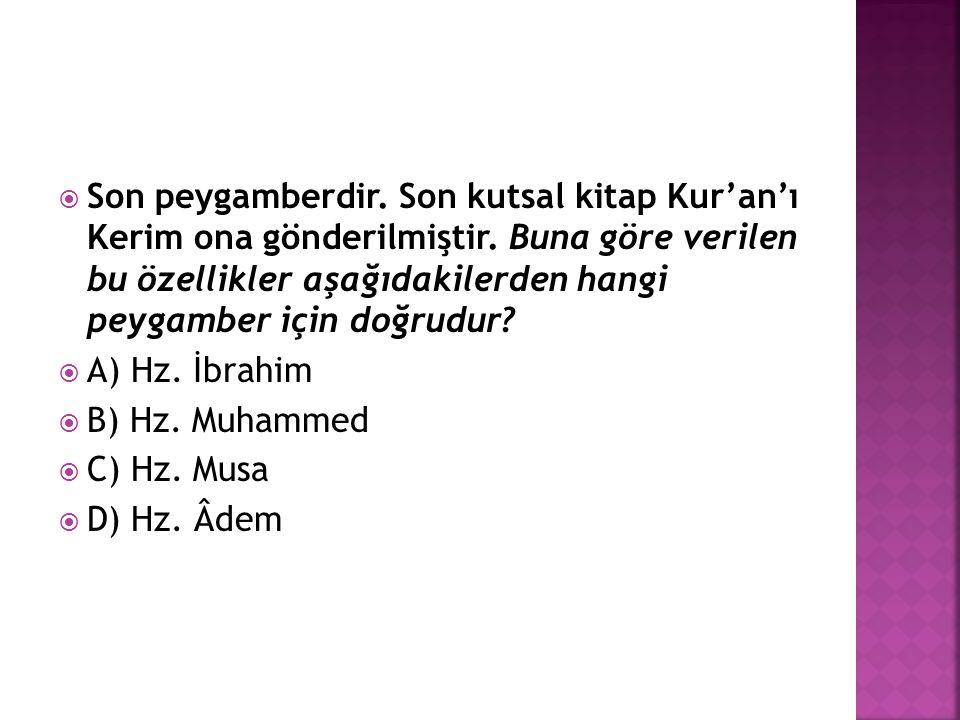 Son peygamberdir. Son kutsal kitap Kur'an'ı Kerim ona gönderilmiştir