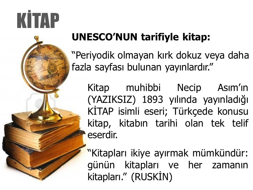 KİTAP UNESCO'NUN tarifiyle kitap: