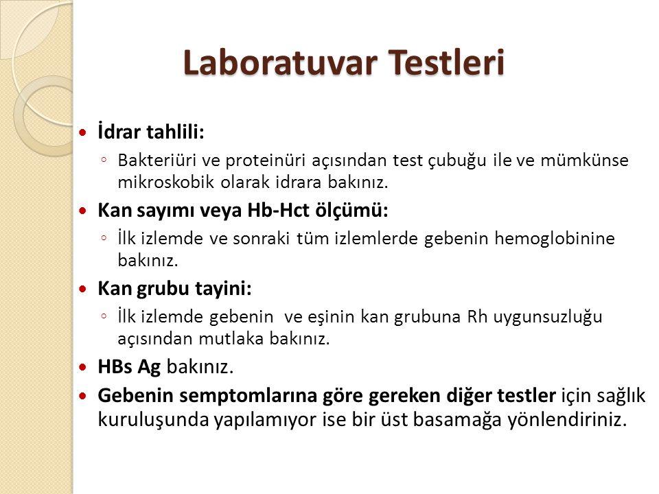 Laboratuvar Testleri İdrar tahlili: Kan sayımı veya Hb-Hct ölçümü: