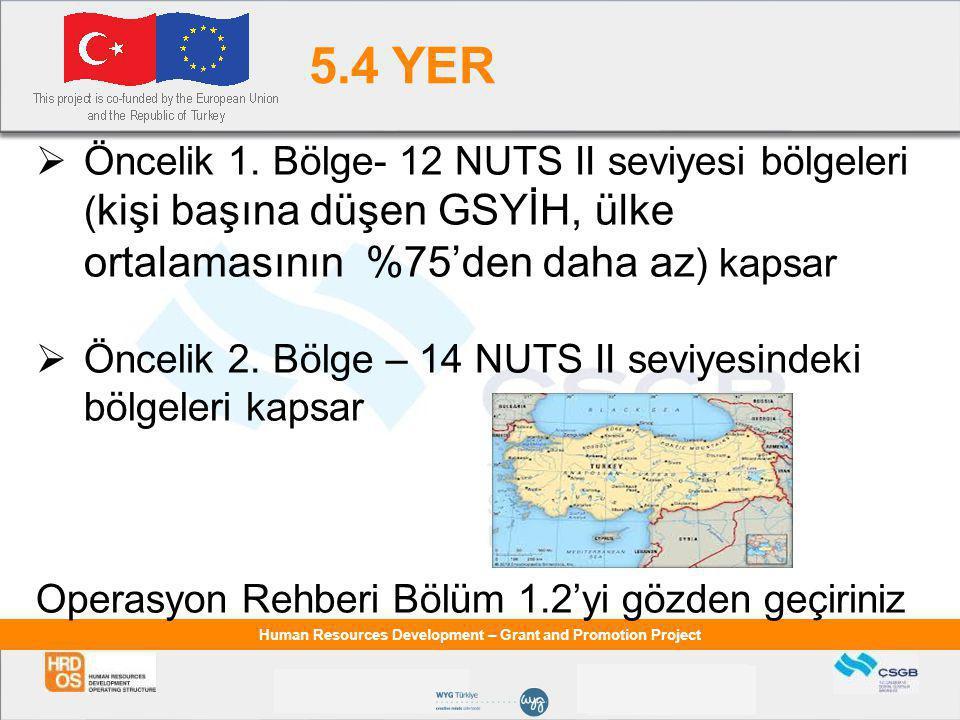 5.4 YER Öncelik 1. Bölge- 12 NUTS II seviyesi bölgeleri (kişi başına düşen GSYİH, ülke ortalamasının %75'den daha az) kapsar.