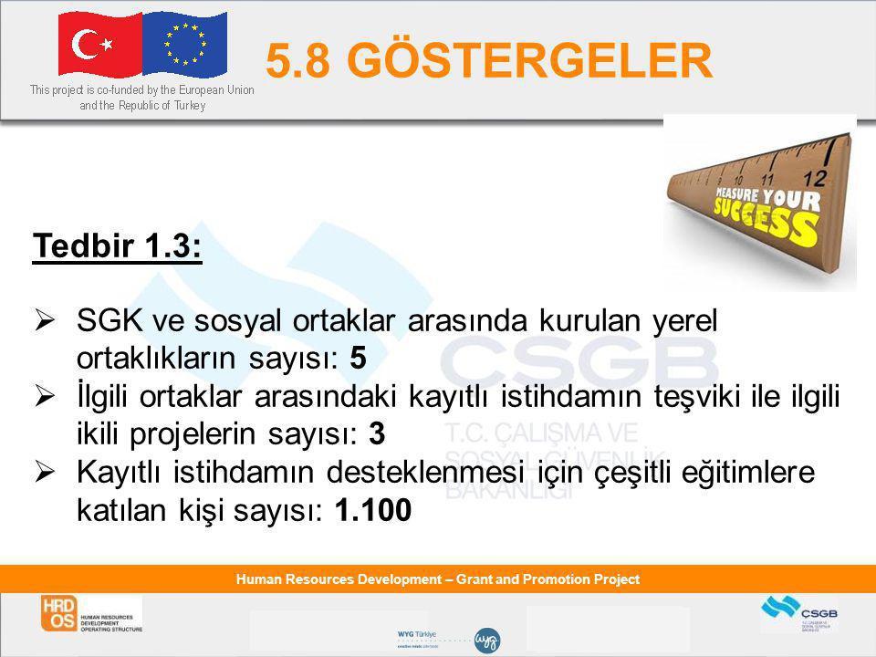 5.8 GÖSTERGELER Tedbir 1.3: SGK ve sosyal ortaklar arasında kurulan yerel ortaklıkların sayısı: 5.