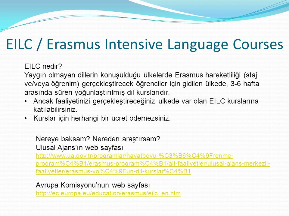 EILC / Erasmus Intensive Language Courses