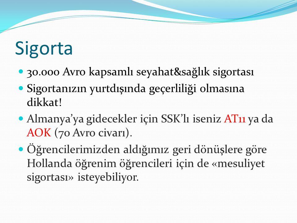 Sigorta 30.000 Avro kapsamlı seyahat&sağlık sigortası