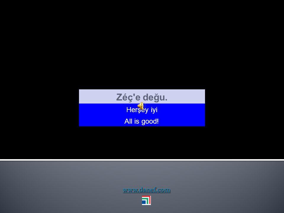 Zéç e değu. Herşey iyi All is good! www.danef.com