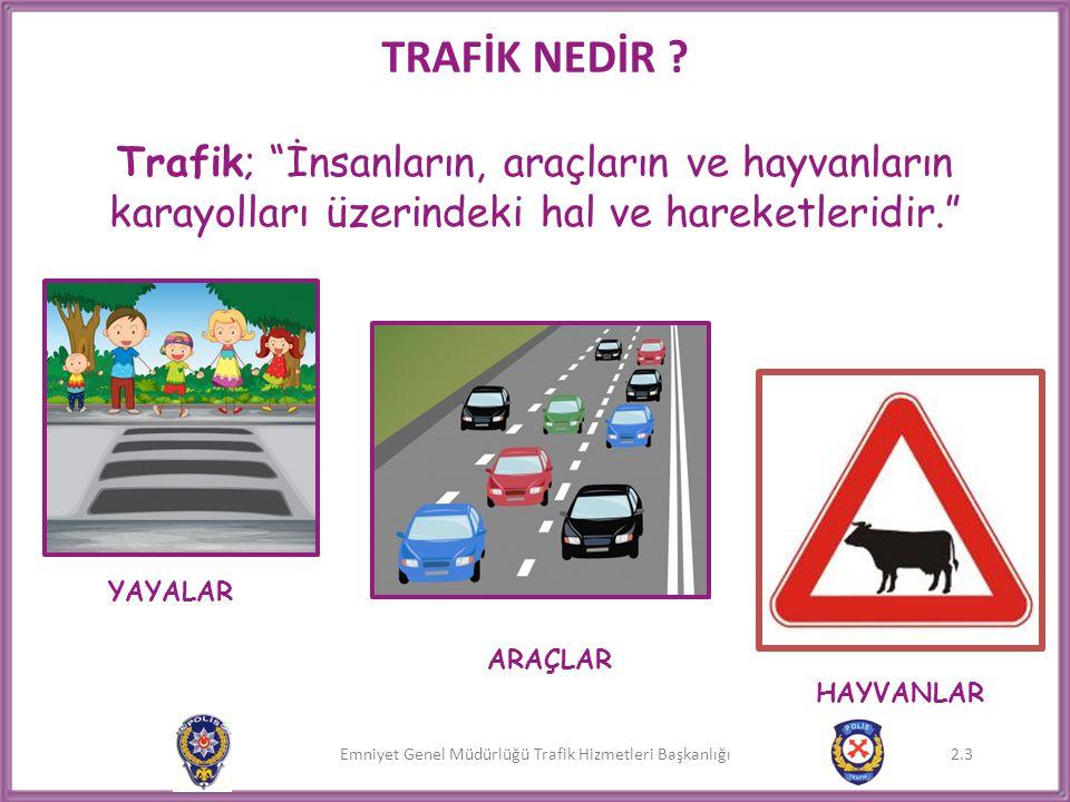 TRAFİK NEDİR Trafik; İnsanların, araçların ve hayvanların karayolları üzerindeki hal ve hareketleridir.