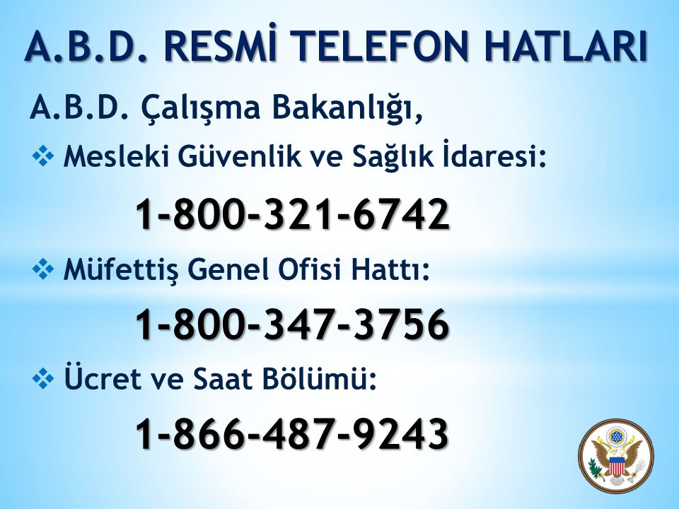 A.B.D. RESMİ TELEFON HATLARI