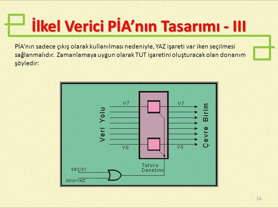 İlkel Verici PİA'nın Tasarımı - III