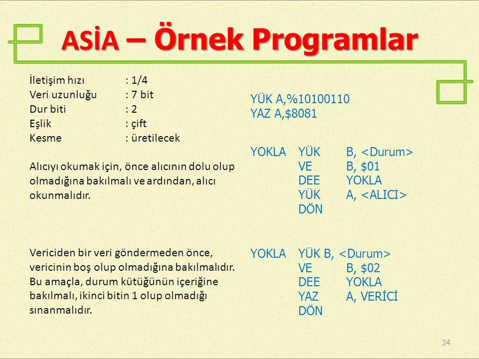 ASİA – Örnek Programlar