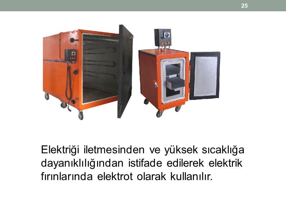 Elektriği iletmesinden ve yüksek sıcaklığa dayanıklılığından istifade edilerek elektrik fırınlarında elektrot olarak kullanılır.
