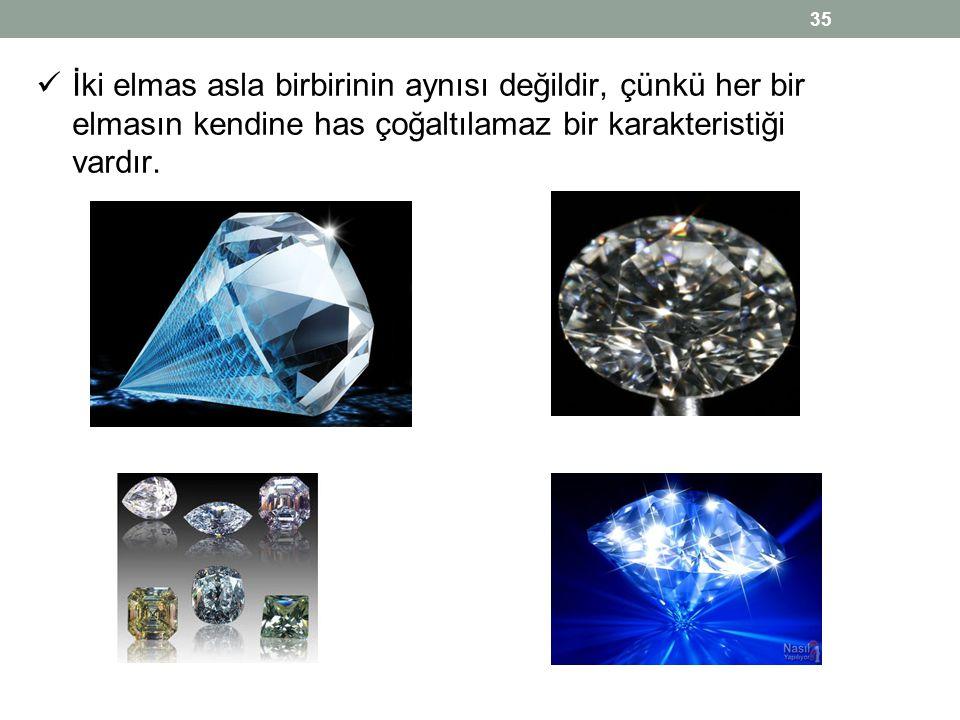 İki elmas asla birbirinin aynısı değildir, çünkü her bir elmasın kendine has çoğaltılamaz bir karakteristiği vardır.