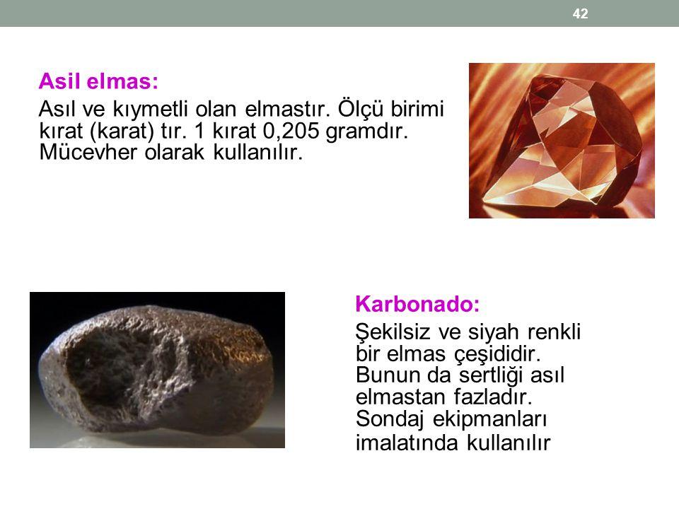 Asil elmas: Asıl ve kıymetli olan elmastır. Ölçü birimi kırat (karat) tır. 1 kırat 0,205 gramdır. Mücevher olarak kullanılır.