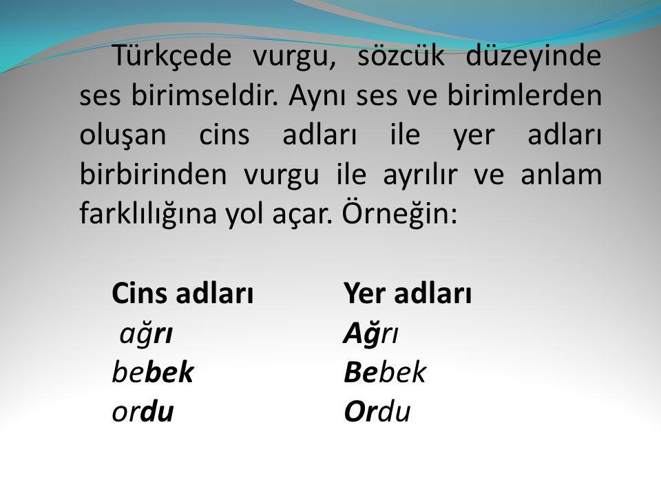 Türkçede vurgu, sözcük düzeyinde ses birimseldir