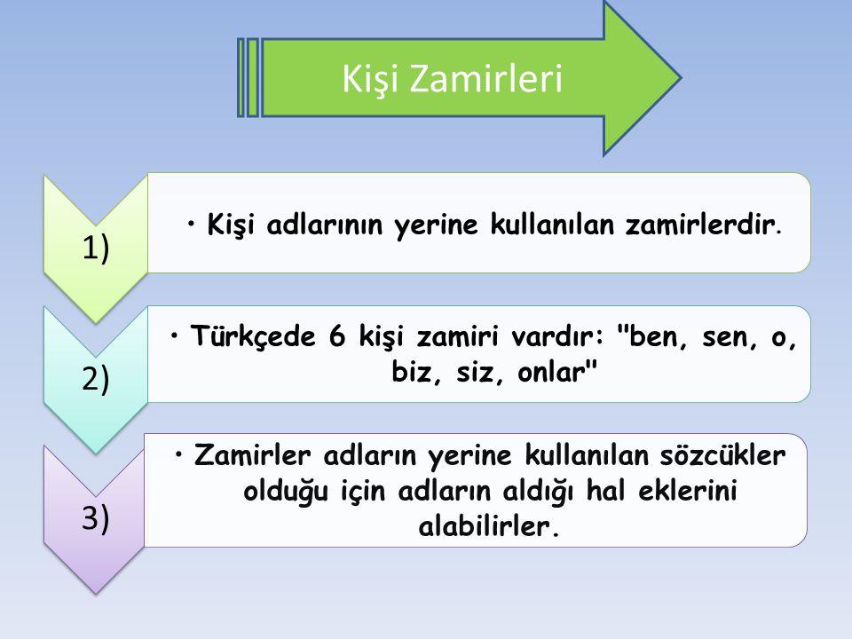 Kişi Zamirleri 1) Kişi adlarının yerine kullanılan zamirlerdir. 2) Türkçede 6 kişi zamiri vardır: ben, sen, o, biz, siz, onlar