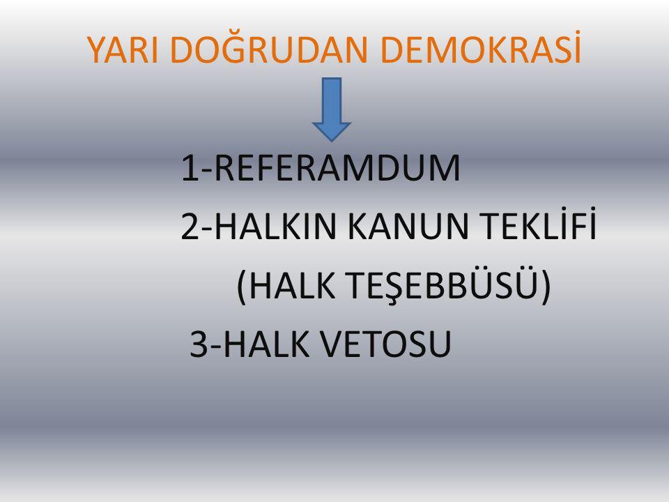 YARI DOĞRUDAN DEMOKRASİ 1-REFERAMDUM 2-HALKIN KANUN TEKLİFİ (HALK TEŞEBBÜSÜ) 3-HALK VETOSU
