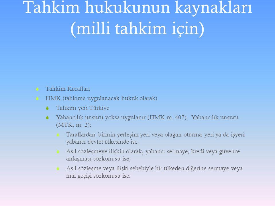 Tahkim hukukunun kaynakları (milli tahkim için)