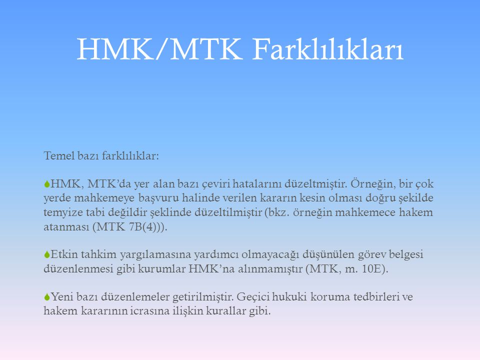 HMK/MTK Farklılıkları