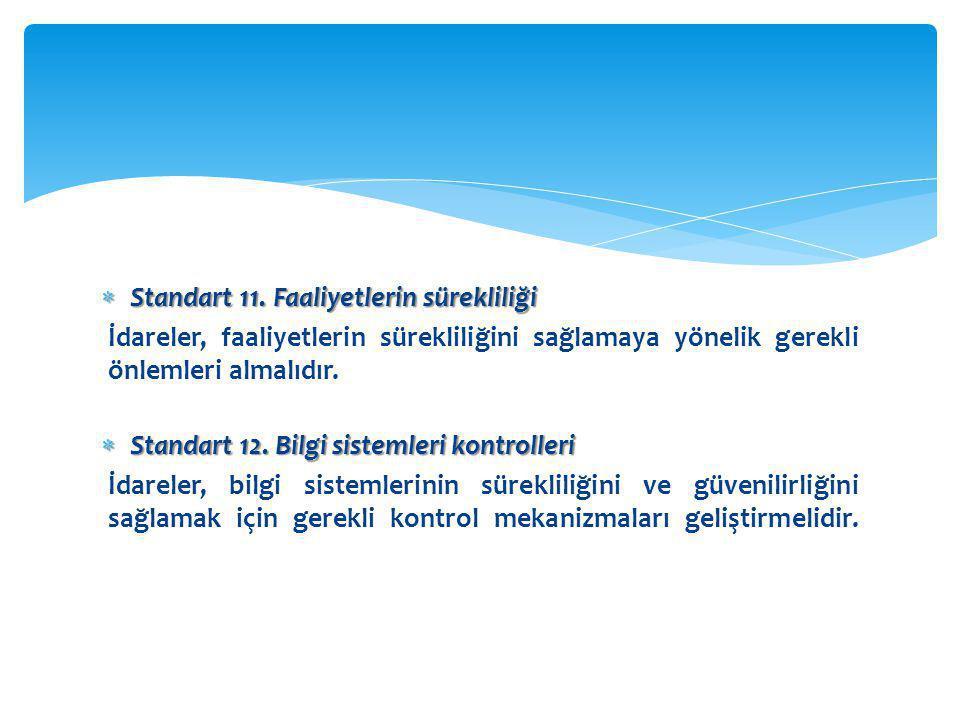 Standart 11. Faaliyetlerin sürekliliği