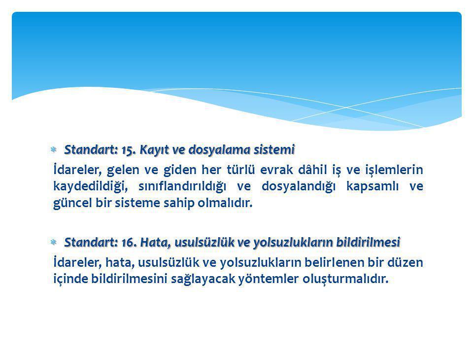 Standart: 15. Kayıt ve dosyalama sistemi