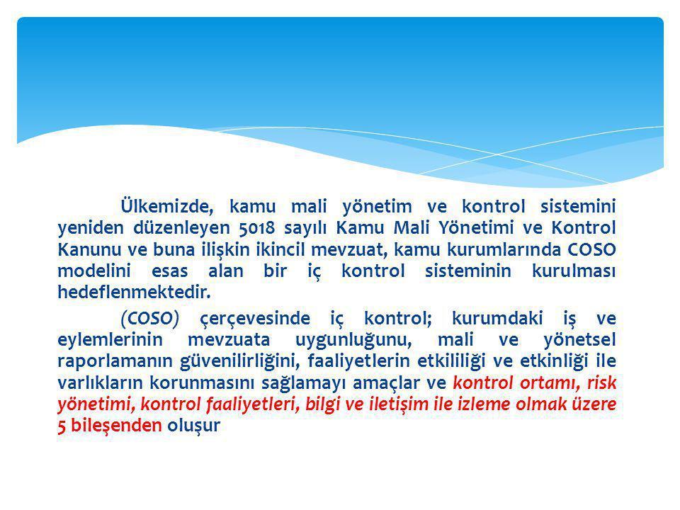 Ülkemizde, kamu mali yönetim ve kontrol sistemini yeniden düzenleyen 5018 sayılı Kamu Mali Yönetimi ve Kontrol Kanunu ve buna ilişkin ikincil mevzuat, kamu kurumlarında COSO modelini esas alan bir iç kontrol sisteminin kurulması hedeflenmektedir.