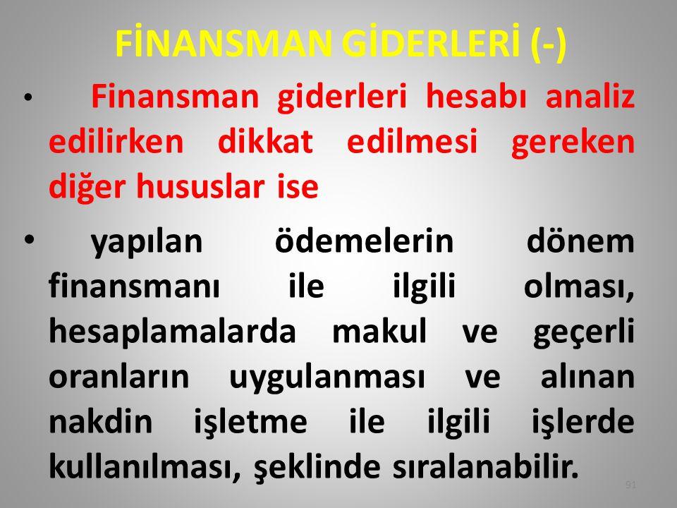 FİNANSMAN GİDERLERİ (-)