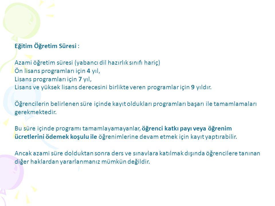 Eğitim Öğretim Süresi :