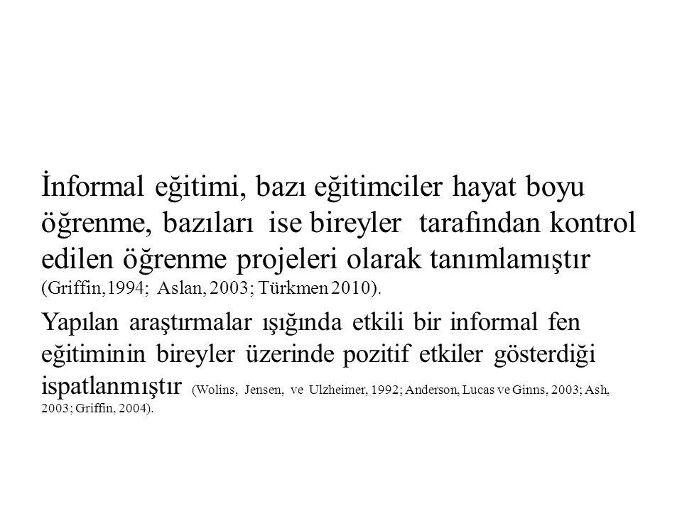 İnformal eğitimi, bazı eğitimciler hayat boyu öğrenme, bazıları ise bireyler tarafından kontrol edilen öğrenme projeleri olarak tanımlamıştır (Griffin,1994; Aslan, 2003; Türkmen 2010).