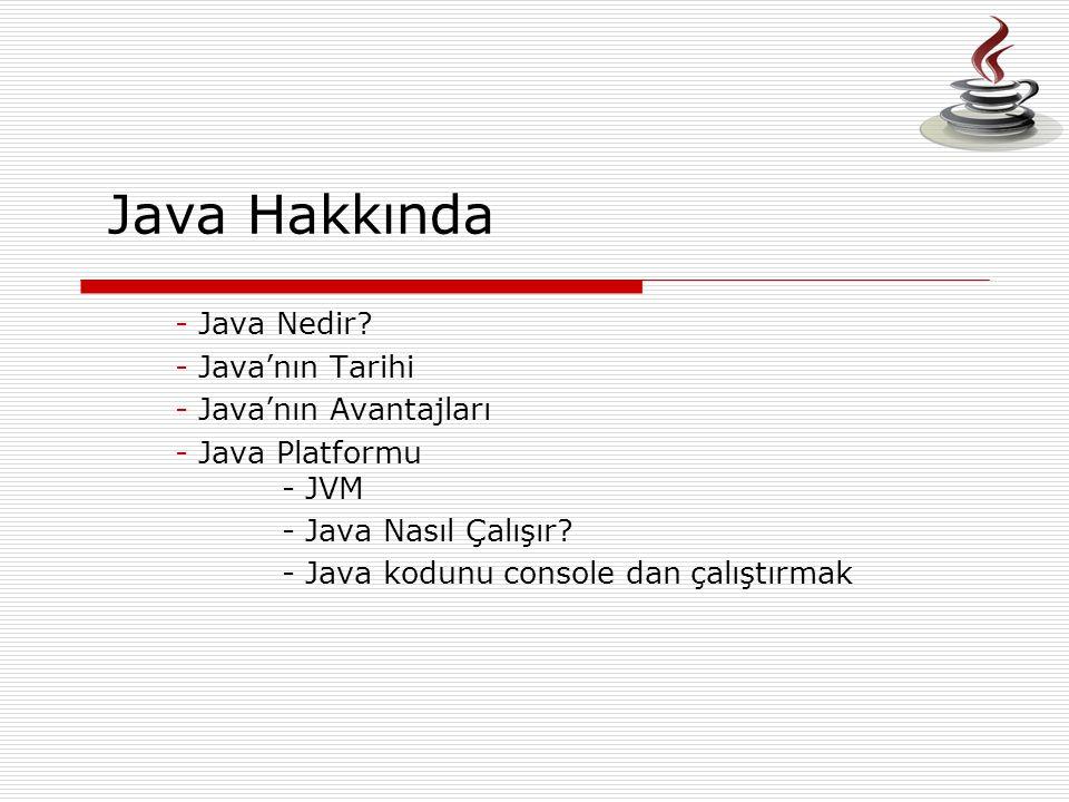 Java Hakkında Java Nedir Java'nın Tarihi Java'nın Avantajları