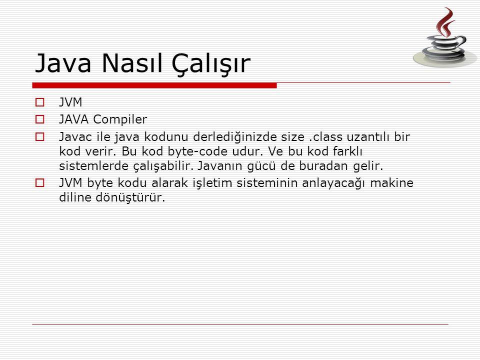 Java Nasıl Çalışır JVM JAVA Compiler
