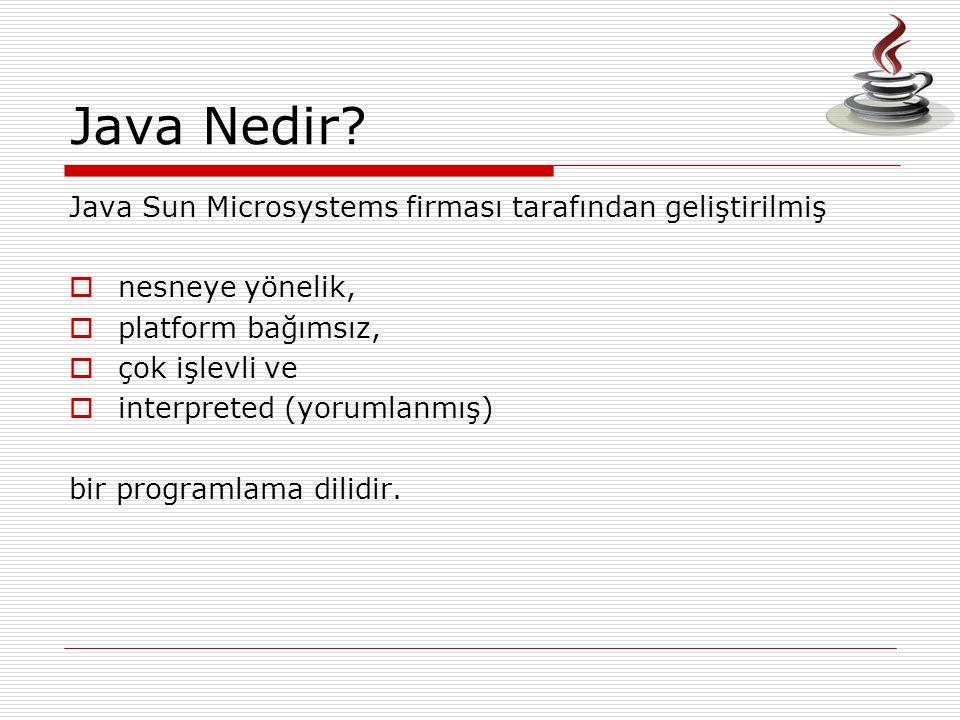 Java Nedir Java Sun Microsystems firması tarafından geliştirilmiş