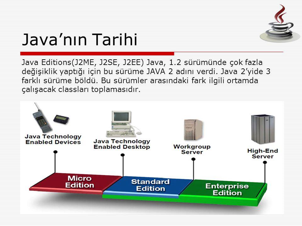 Java'nın Tarihi Java Editions(J2ME, J2SE, J2EE) Java, 1.2 sürümünde çok fazla. değişiklik yaptığı için bu sürüme JAVA 2 adını verdi. Java 2'yide 3.