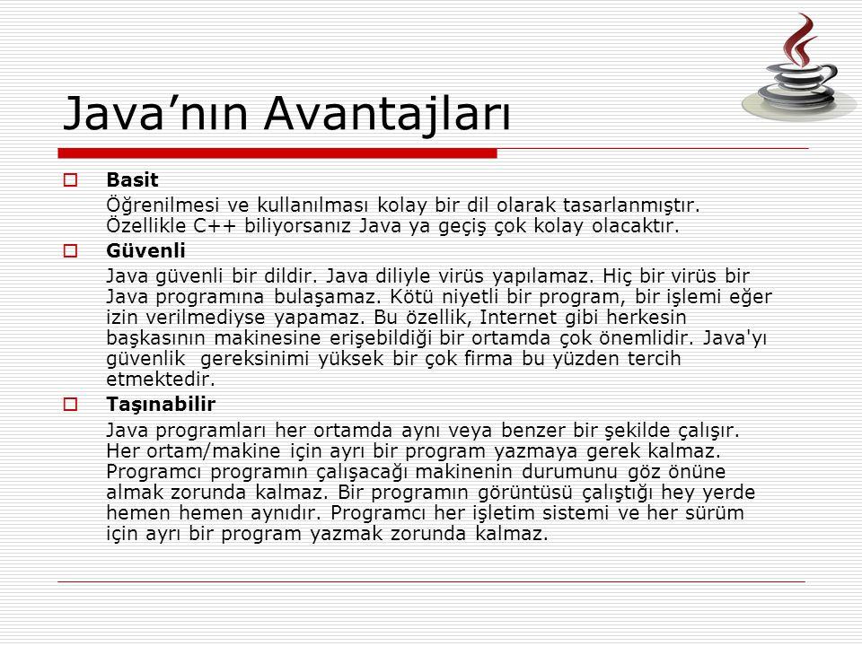 Java'nın Avantajları Basit