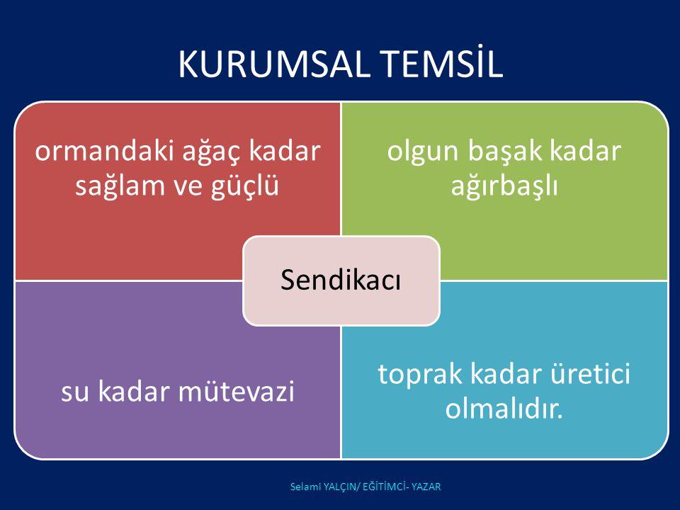 KURUMSAL TEMSİL Selami YALÇIN/ EĞİTİMCİ- YAZAR Sendikacı