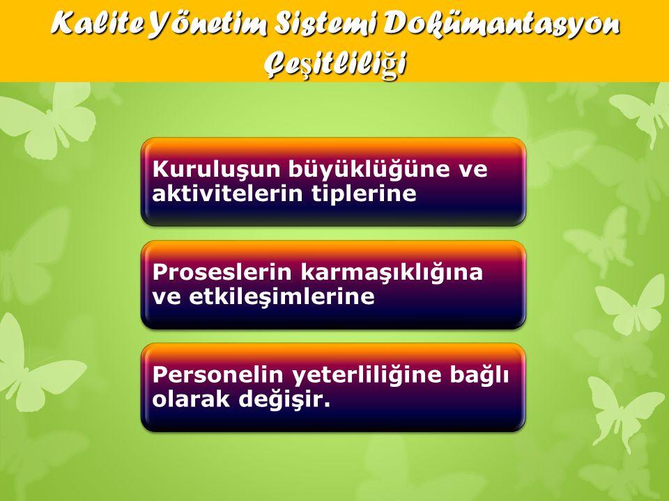 Kalite Yönetim Sistemi Dokümantasyon Çeşitliliği