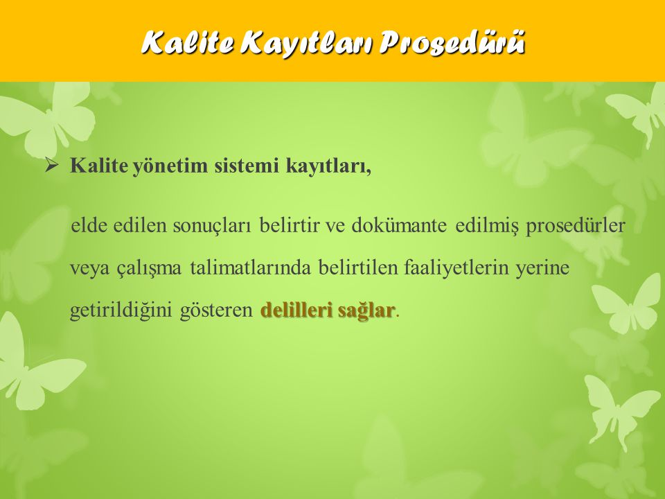 Kalite Kayıtları Prosedürü