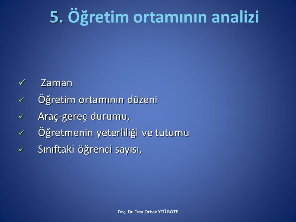 5. Öğretim ortamının analizi
