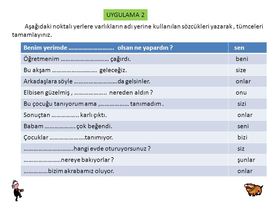 UYGULAMA 2 Aşağıdaki noktalı yerlere varlıkların adı yerine kullanılan sözcükleri yazarak , tümceleri.