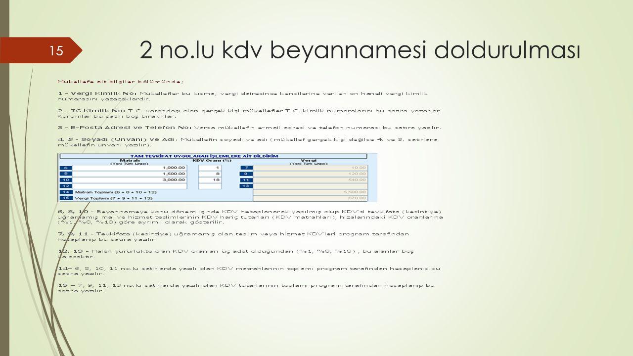 2 no.lu kdv beyannamesi doldurulması