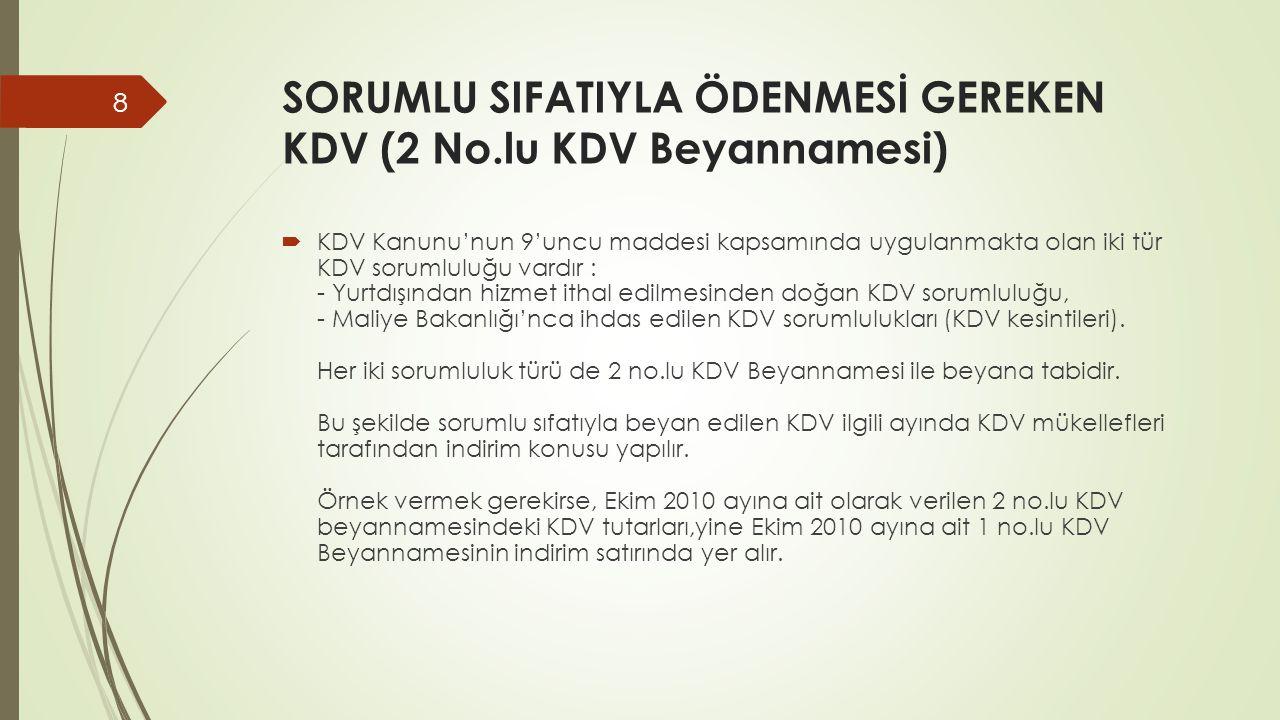 SORUMLU SIFATIYLA ÖDENMESİ GEREKEN KDV (2 No.lu KDV Beyannamesi)