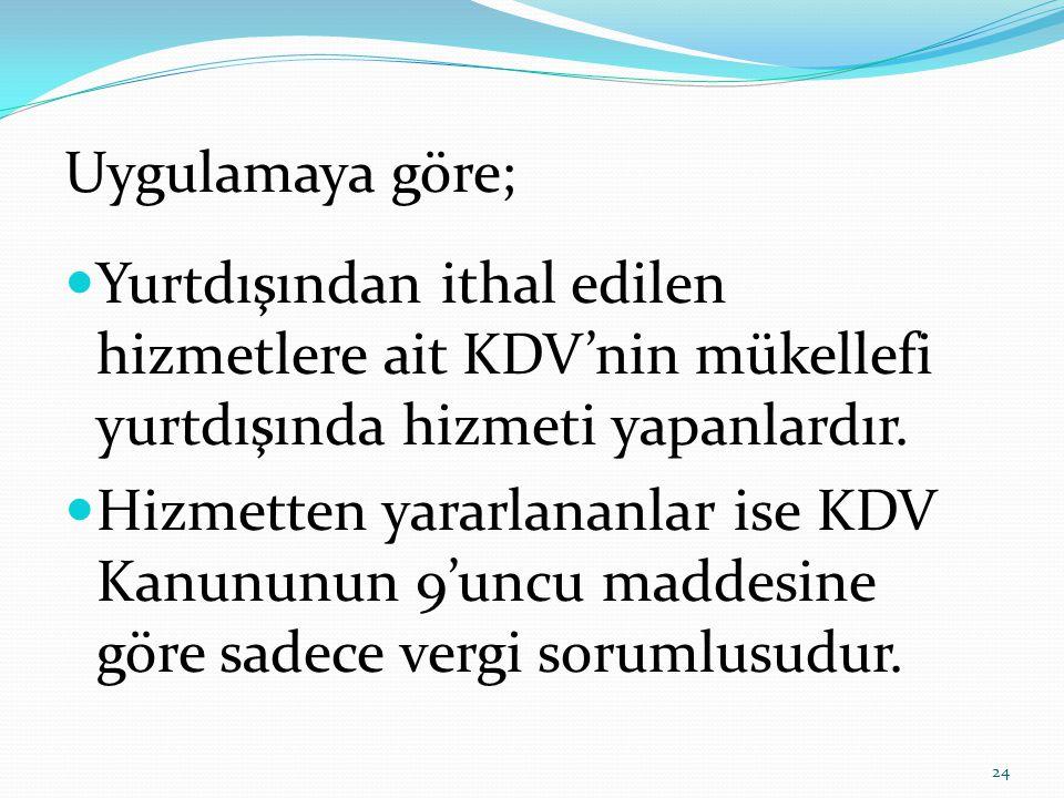 Uygulamaya göre; Yurtdışından ithal edilen hizmetlere ait KDV'nin mükellefi yurtdışında hizmeti yapanlardır.