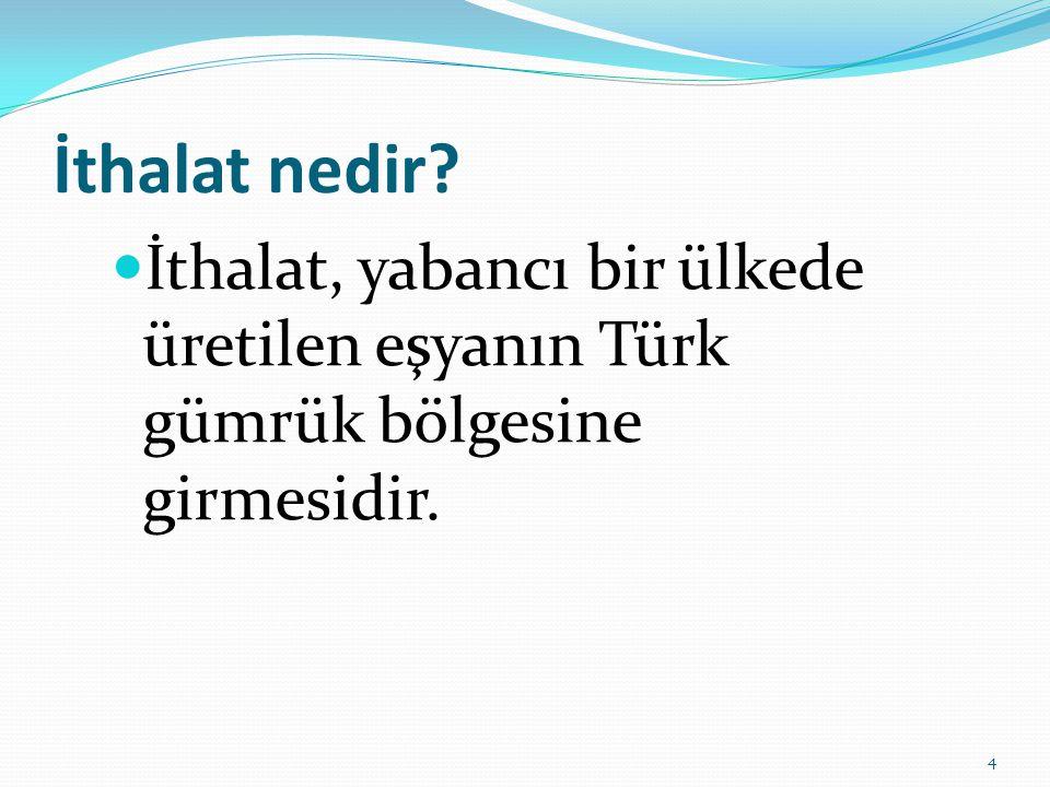 İthalat nedir İthalat, yabancı bir ülkede üretilen eşyanın Türk gümrük bölgesine girmesidir.