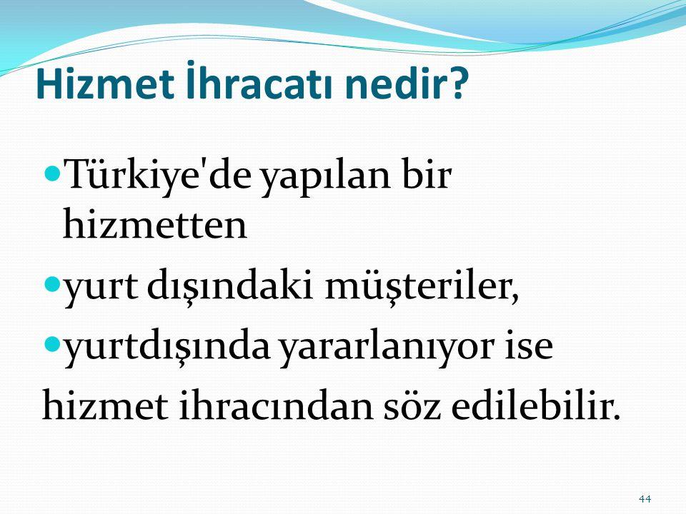 Hizmet İhracatı nedir Türkiye de yapılan bir hizmetten