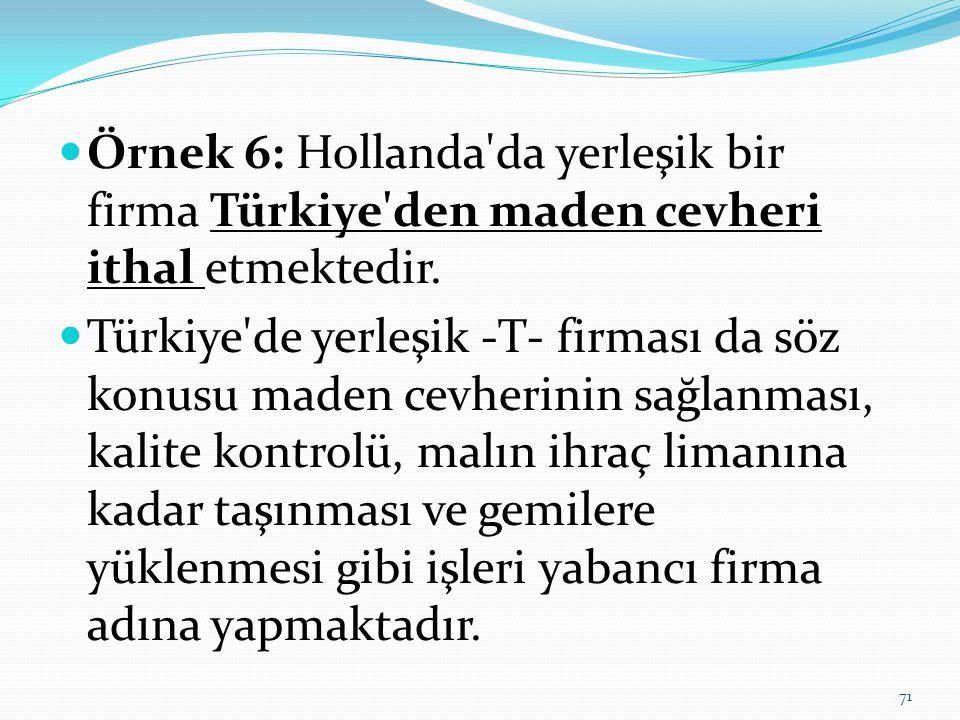Örnek 6: Hollanda da yerleşik bir firma Türkiye den maden cevheri ithal etmektedir.
