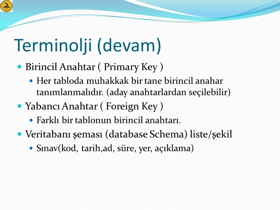 Terminolji (devam) Birincil Anahtar ( Primary Key )